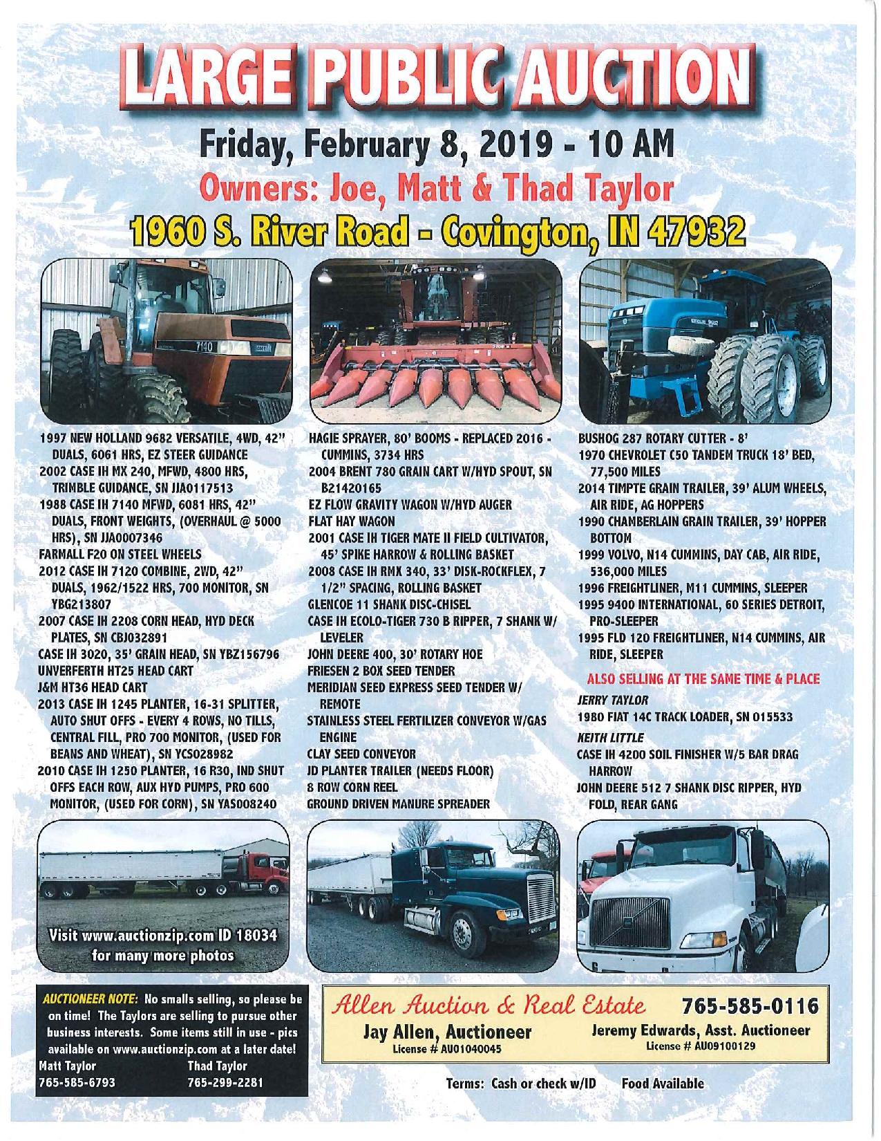 Large Public Farm Machinery Auction: Friday, Feb  8th 10am